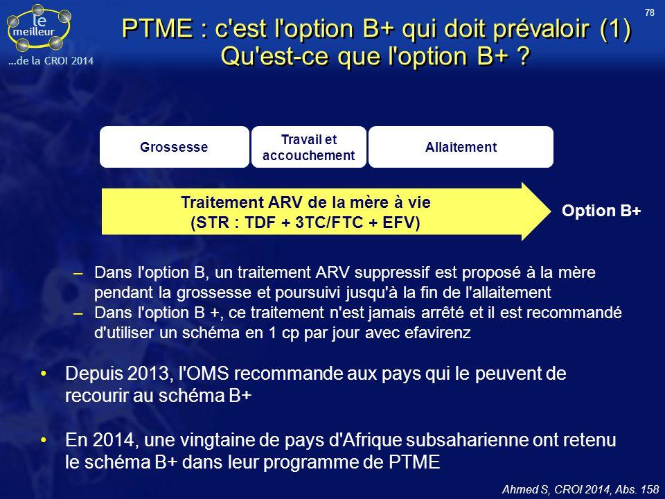 78 PTME : c est l option B+ qui doit prévaloir (1) Qu est-ce que l option B+ Grossesse. Travail et accouchement.