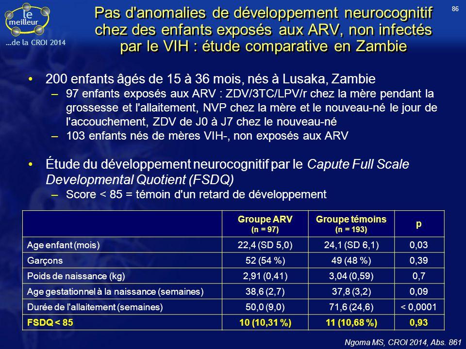 86 Pas d anomalies de développement neurocognitif chez des enfants exposés aux ARV, non infectés par le VIH : étude comparative en Zambie.