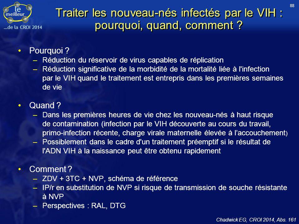 88 Traiter les nouveau-nés infectés par le VIH : pourquoi, quand, comment Pourquoi Réduction du réservoir de virus capables de réplication.