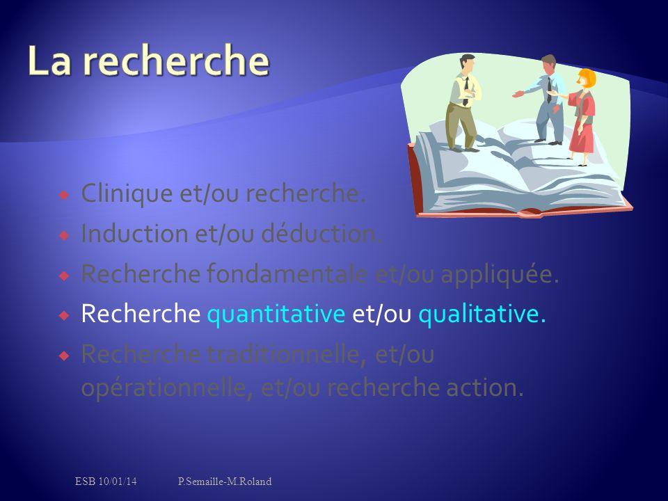 La recherche Clinique et/ou recherche. Induction et/ou déduction.