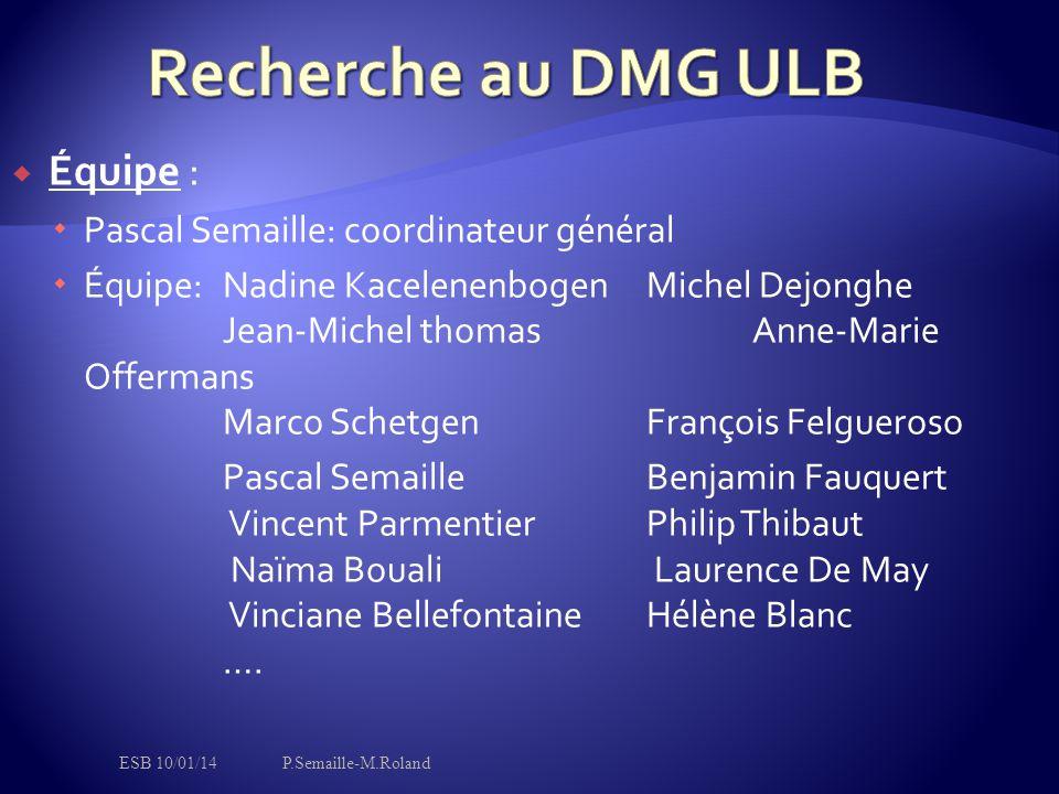 Recherche au DMG ULB Équipe : Pascal Semaille: coordinateur général