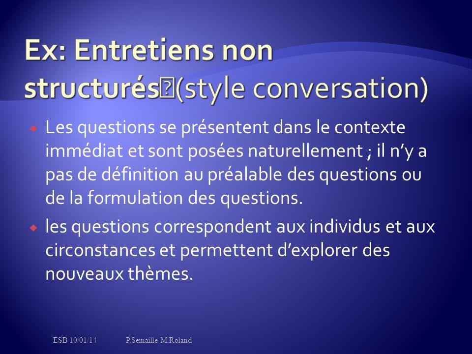 Ex: Entretiens non structurés (style conversation)