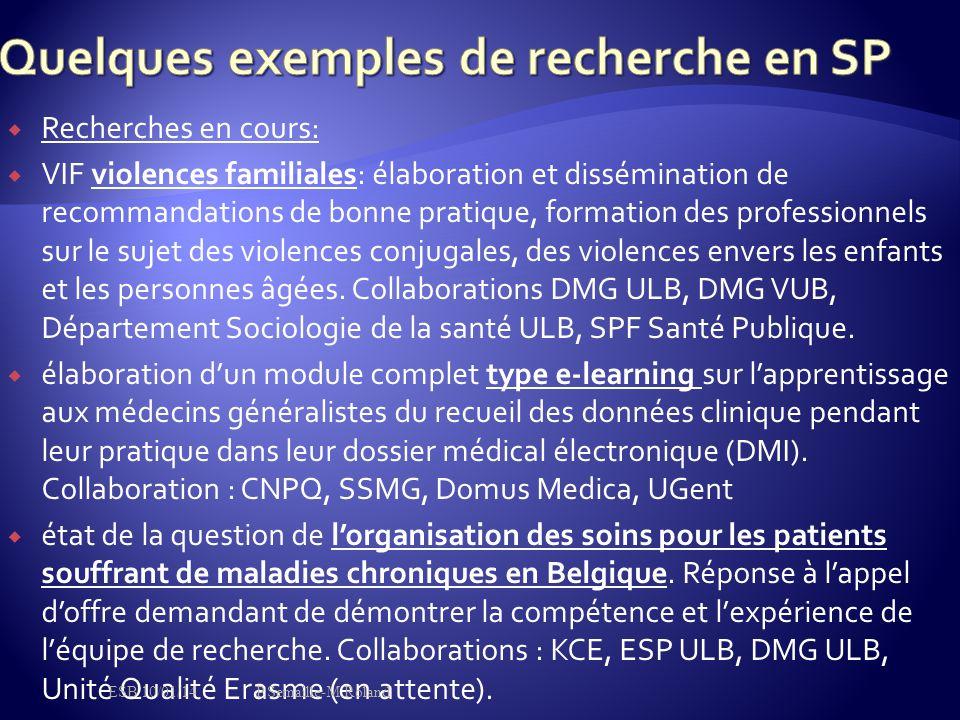Quelques exemples de recherche en SP