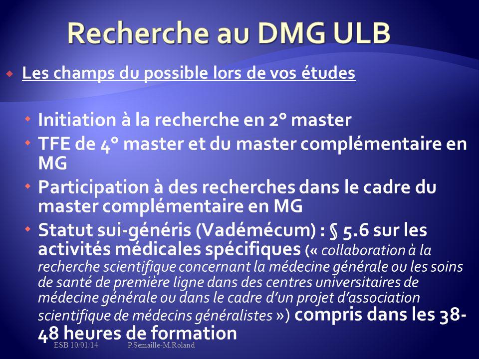 Recherche au DMG ULB Initiation à la recherche en 2° master