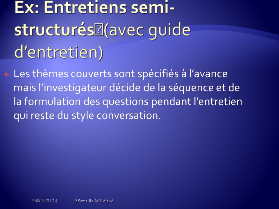 Ex: Entretiens semi-structurés (avec guide d'entretien)