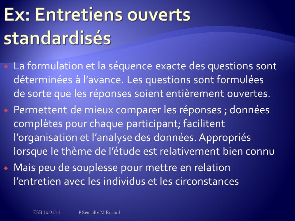 Ex: Entretiens ouverts standardisés