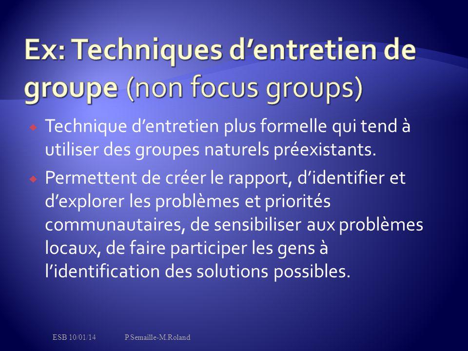 Ex: Techniques d'entretien de groupe (non focus groups)