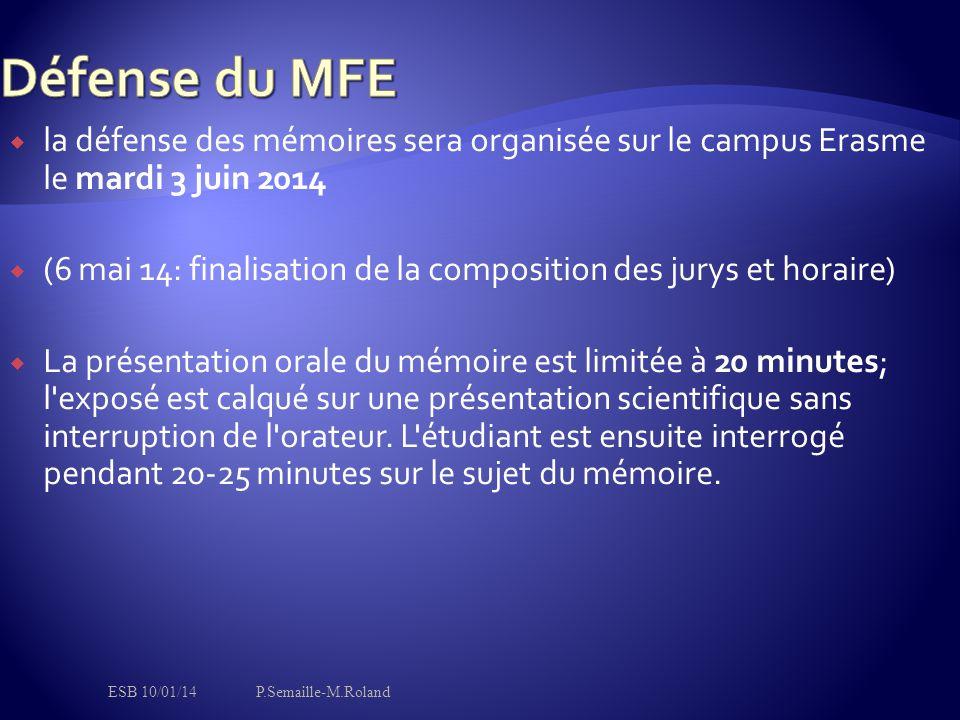 Défense du MFE la défense des mémoires sera organisée sur le campus Erasme le mardi 3 juin 2014.