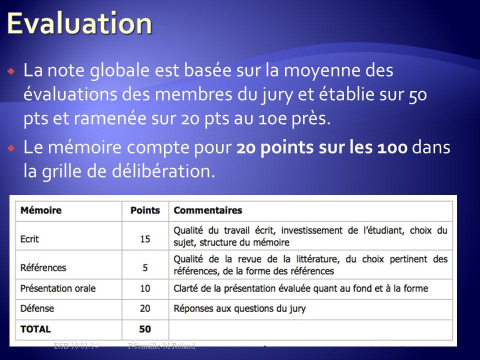 Evaluation La note globale est basée sur la moyenne des évaluations des membres du jury et établie sur 50 pts et ramenée sur 20 pts au 10e près.