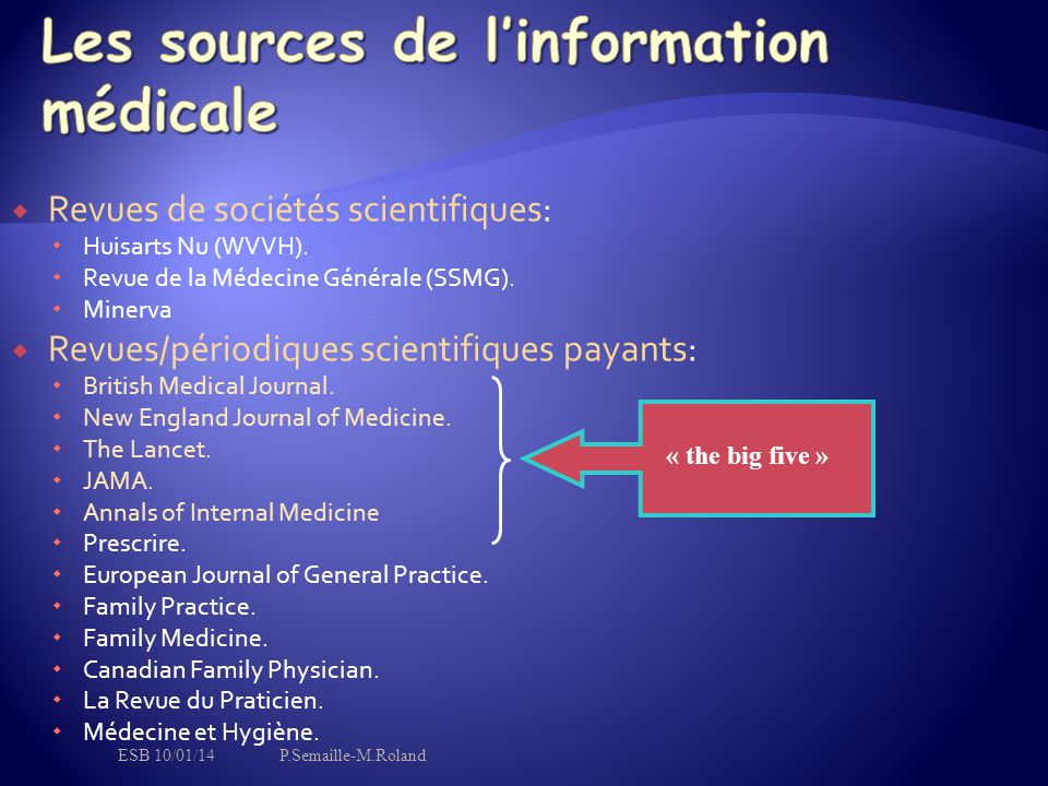 Les sources de l'information médicale