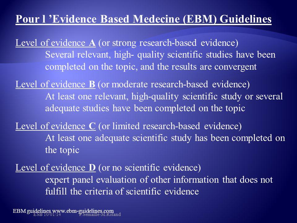 Pour l 'Evidence Based Medecine (EBM) Guidelines