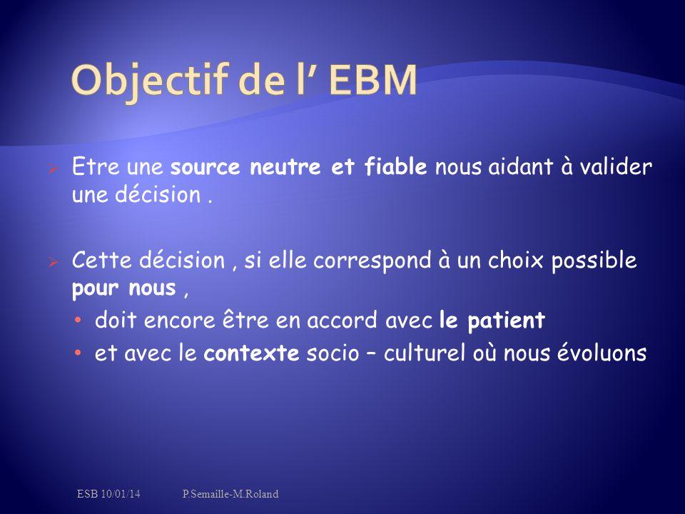 Objectif de l' EBM Etre une source neutre et fiable nous aidant à valider une décision .