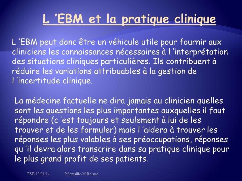 L 'EBM et la pratique clinique