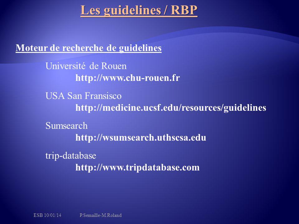 Les guidelines / RBP Moteur de recherche de guidelines