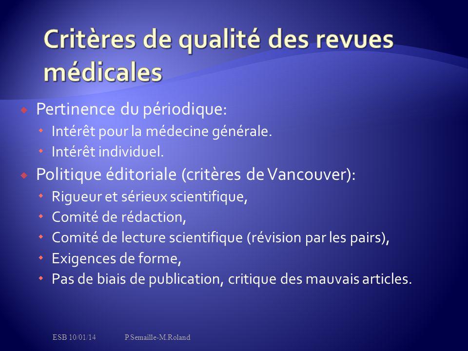 Critères de qualité des revues médicales