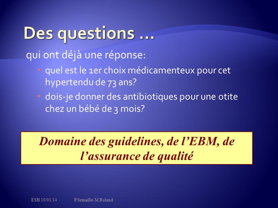 Domaine des guidelines, de l'EBM, de l'assurance de qualité