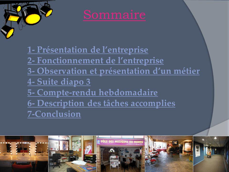 Sommaire 1- Présentation de l'entreprise