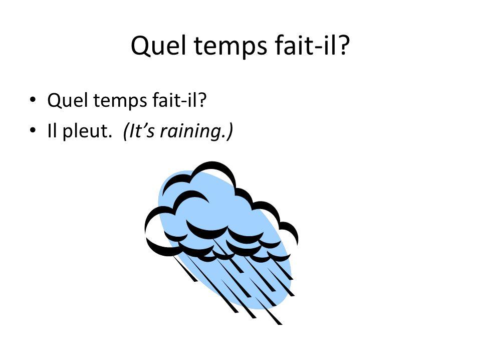 Quel temps fait-il Quel temps fait-il Il pleut. (It's raining.)
