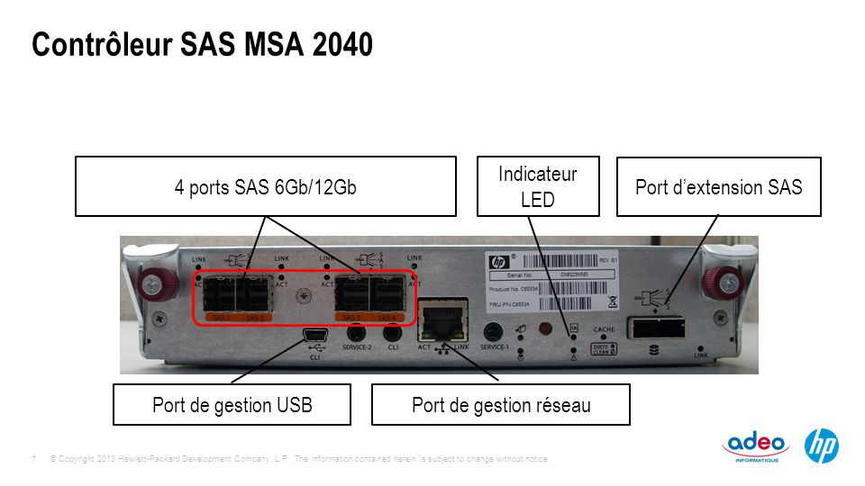 Contrôleur SAS MSA 2040 4 ports SAS 6Gb/12Gb Indicateur LED