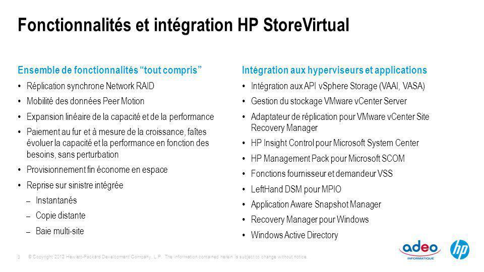 Fonctionnalités et intégration HP StoreVirtual