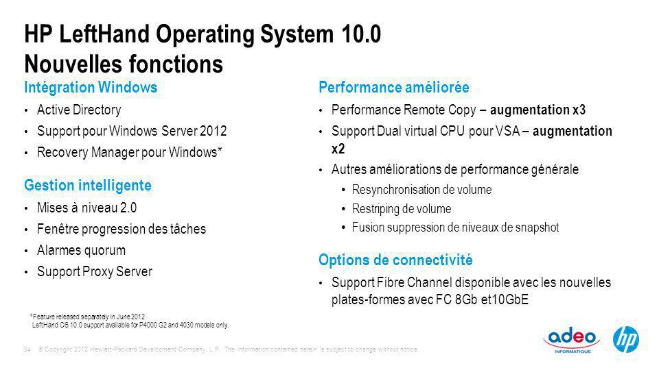HP LeftHand Operating System 10.0 Nouvelles fonctions