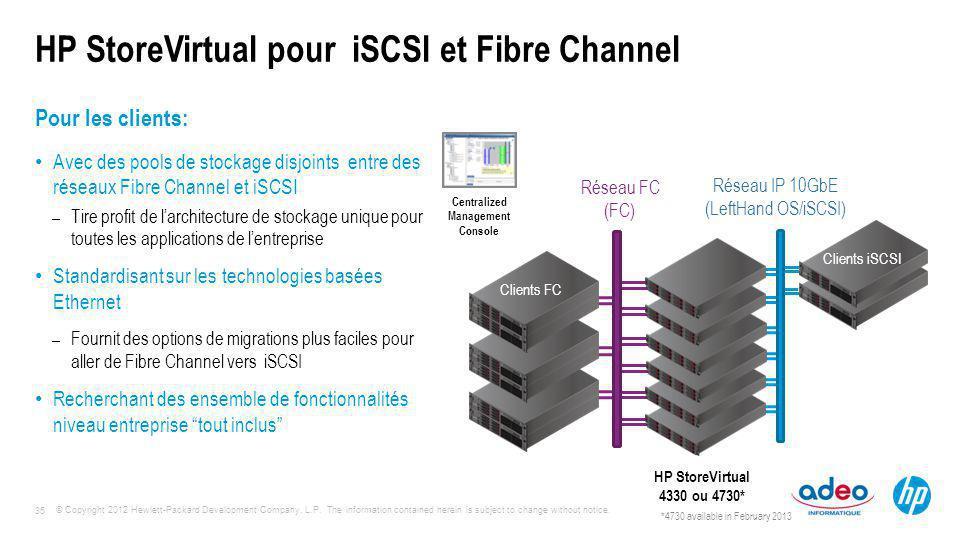 HP StoreVirtual pour iSCSI et Fibre Channel