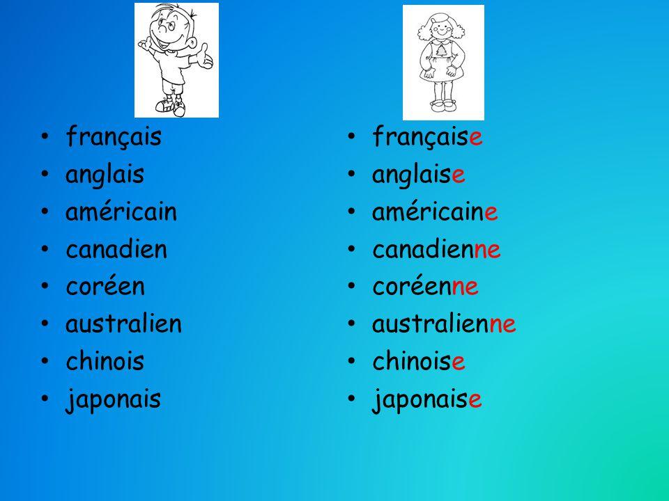 français anglais. américain. canadien. coréen. australien. chinois. japonais. française. anglaise.