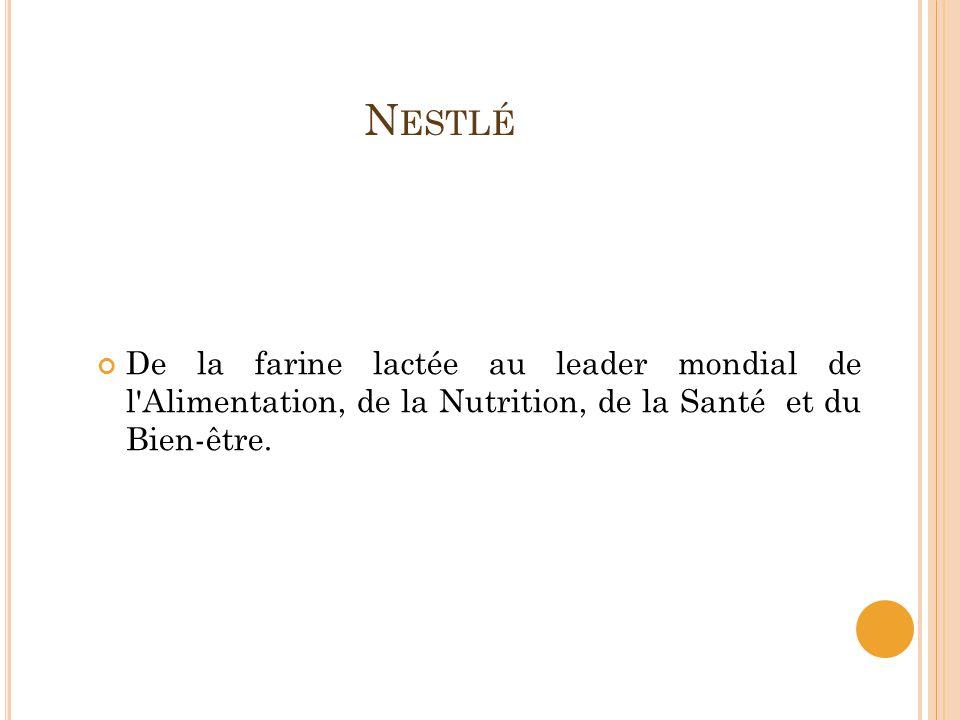 Nestlé De la farine lactée au leader mondial de l Alimentation, de la Nutrition, de la Santé et du Bien-être.