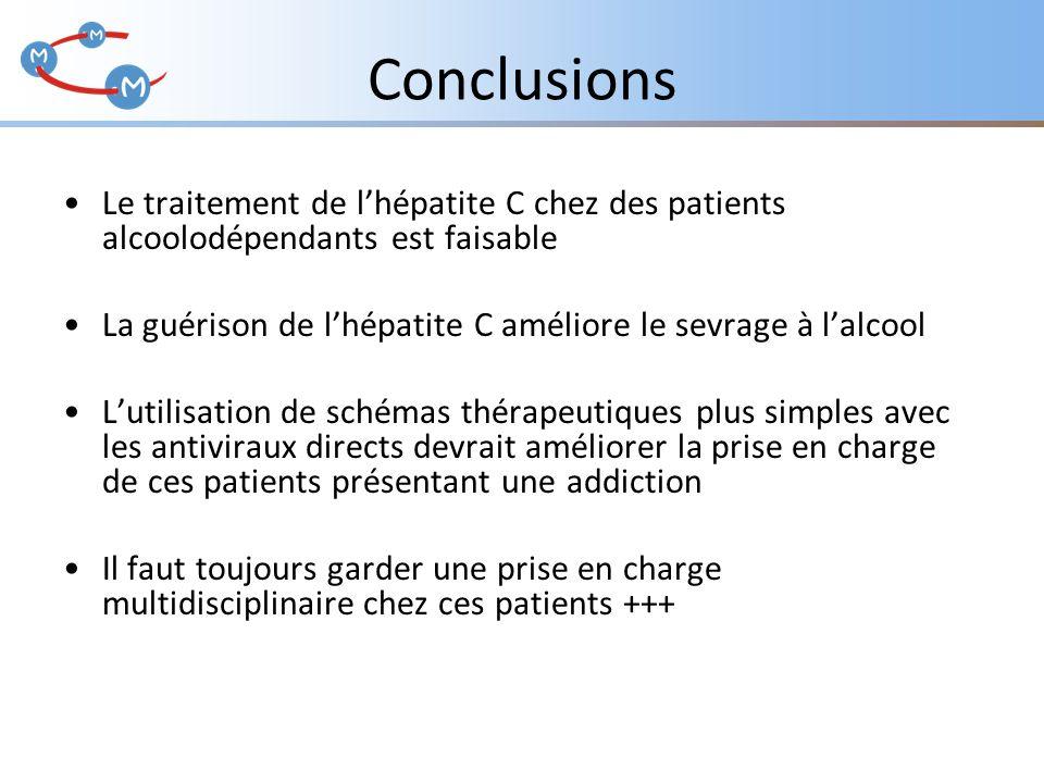 Conclusions Le traitement de l'hépatite C chez des patients alcoolodépendants est faisable.