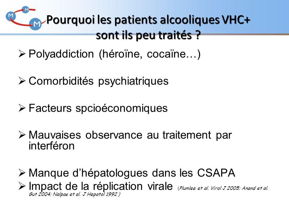 Pourquoi les patients alcooliques VHC+ sont ils peu traités