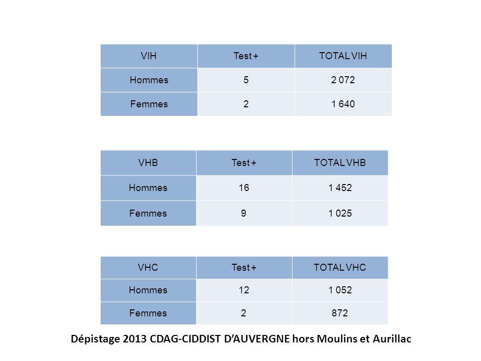 Dépistage 2013 CDAG-CIDDIST D'AUVERGNE hors Moulins et Aurillac