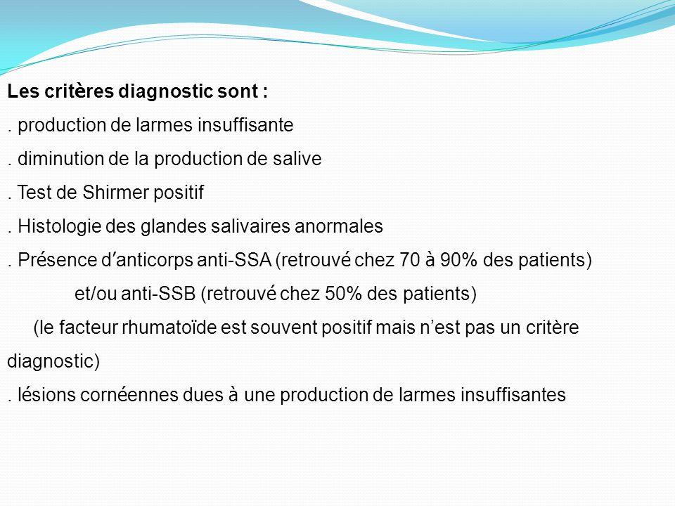 Les critères diagnostic sont :