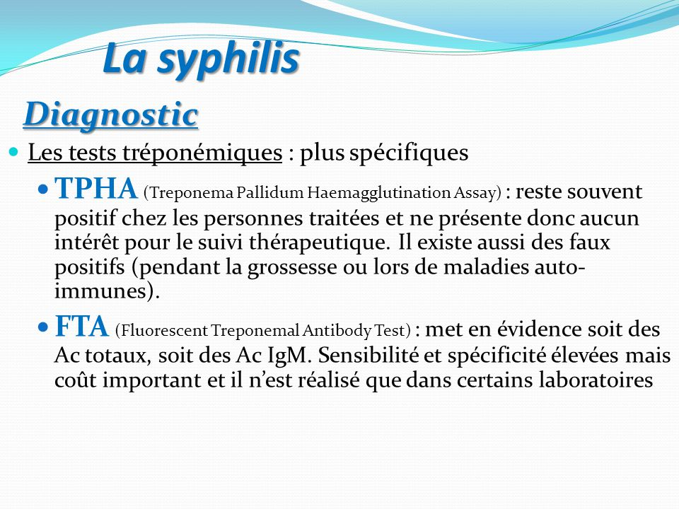 La syphilis Diagnostic