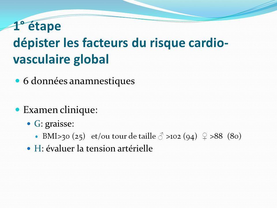 1° étape dépister les facteurs du risque cardio-vasculaire global
