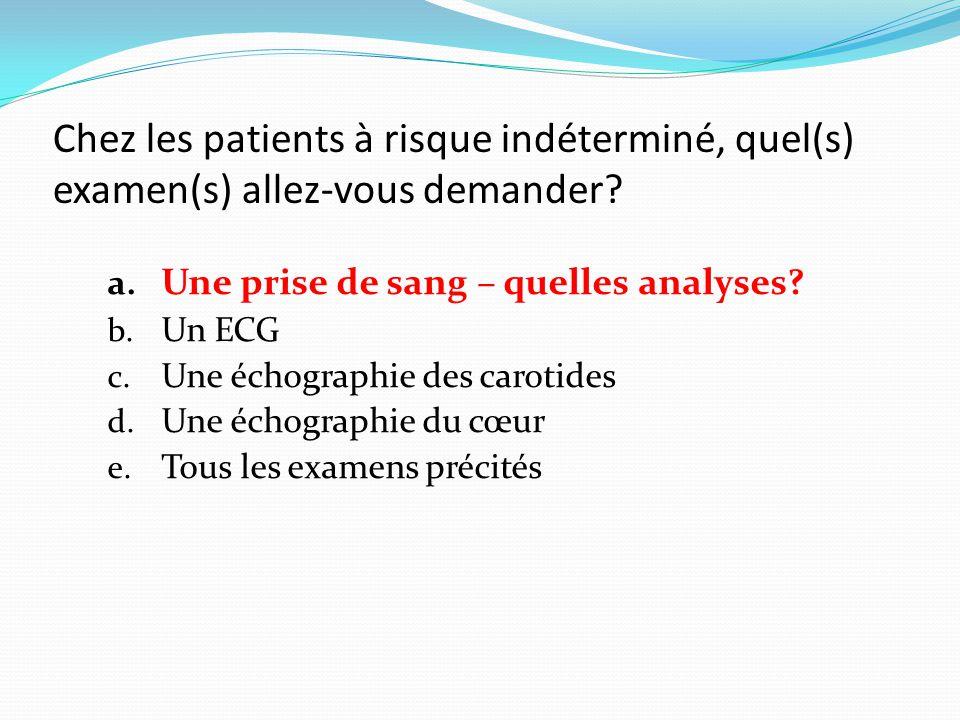 Chez les patients à risque indéterminé, quel(s) examen(s) allez-vous demander