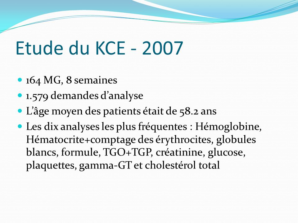 Etude du KCE - 2007 164 MG, 8 semaines 1.579 demandes d'analyse