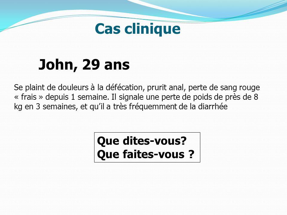 Cas clinique John, 29 ans Que dites-vous Que faites-vous