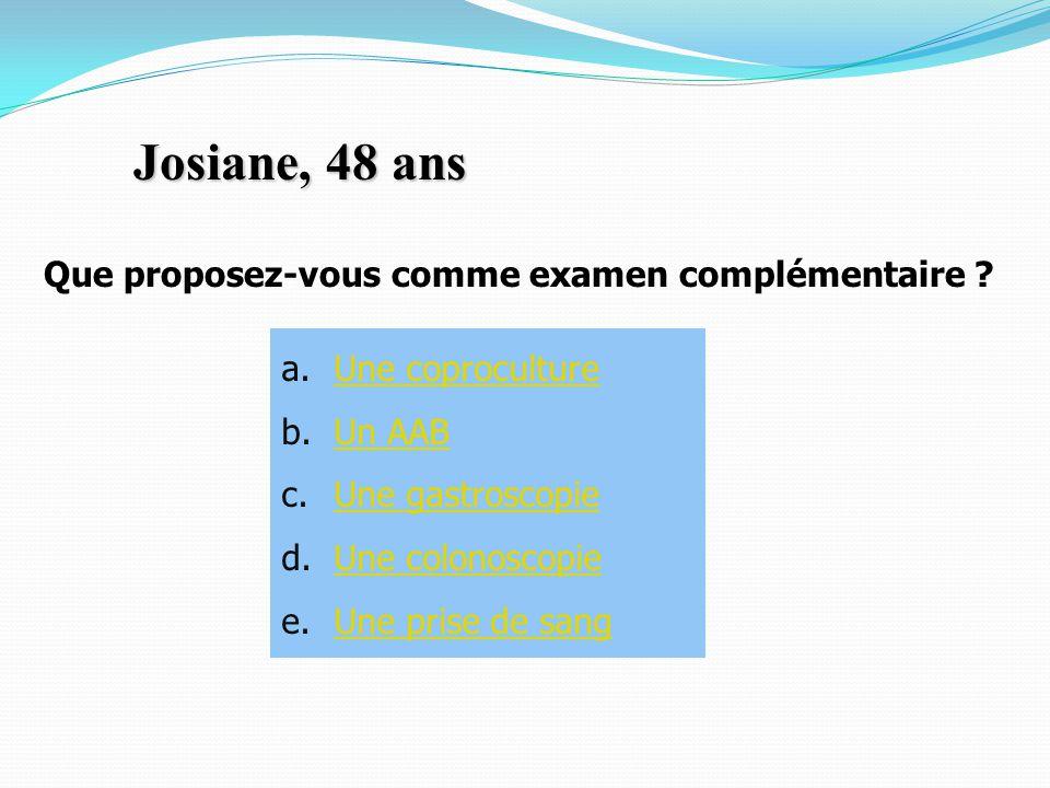 Josiane, 48 ans Que proposez-vous comme examen complémentaire