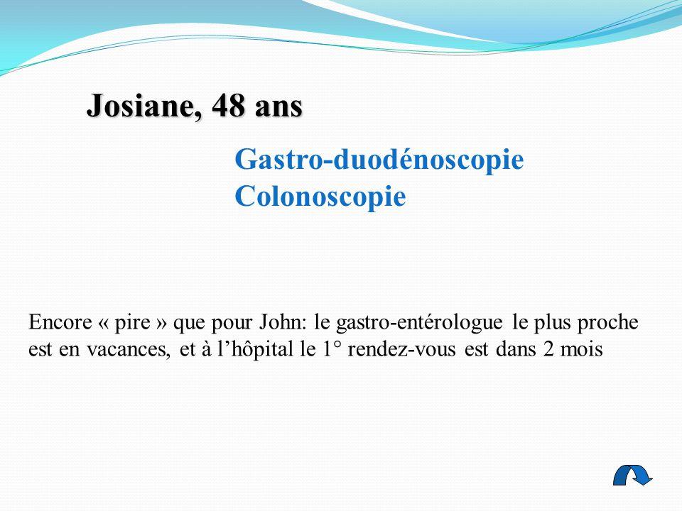 Josiane, 48 ans Gastro-duodénoscopie Colonoscopie