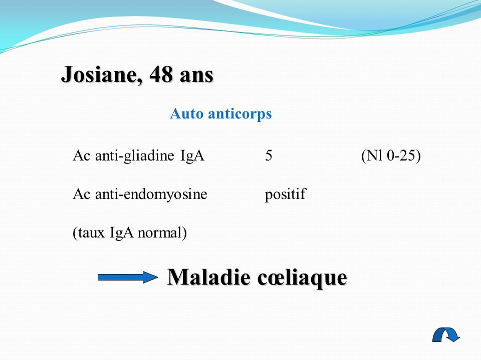 Josiane, 48 ans Maladie cœliaque Auto anticorps