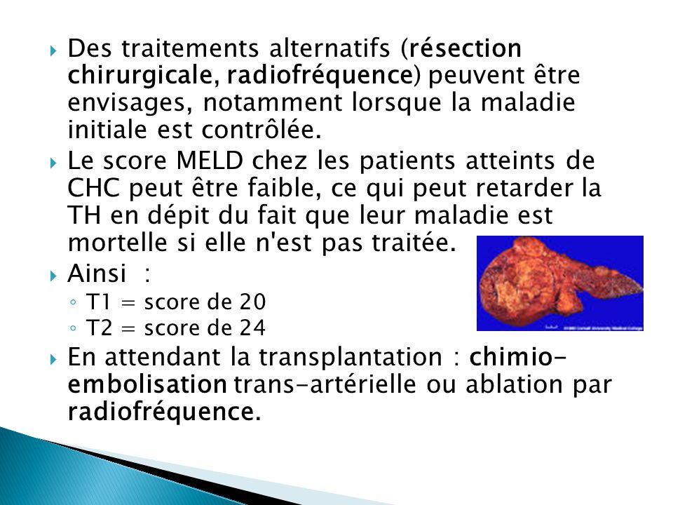 Des traitements alternatifs (résection chirurgicale, radiofréquence) peuvent être envisages, notamment lorsque la maladie initiale est contrôlée.