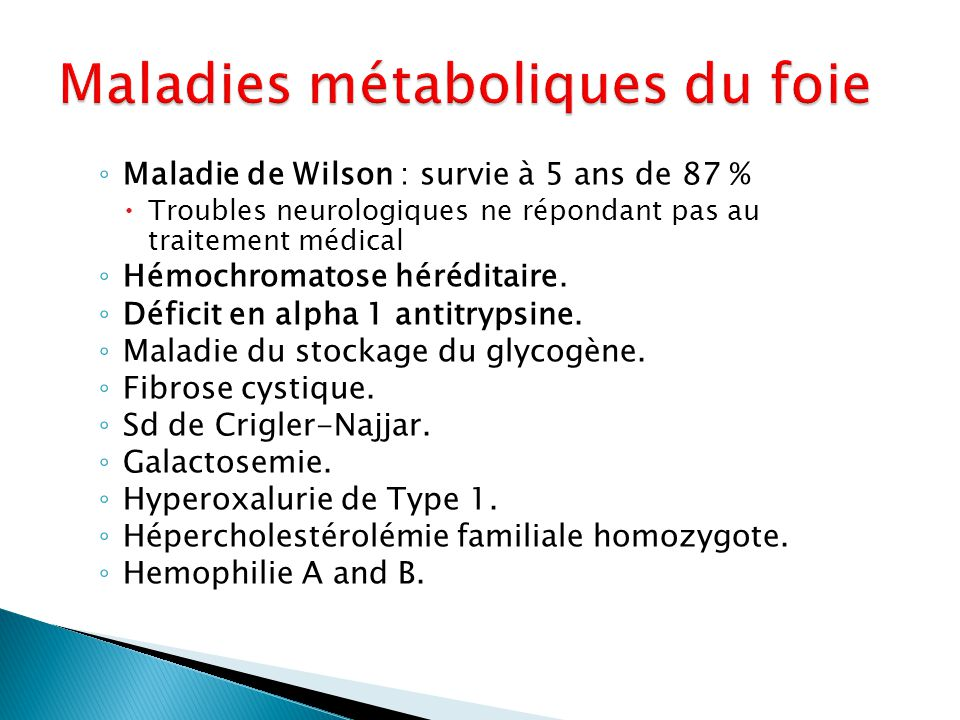 Maladies métaboliques du foie