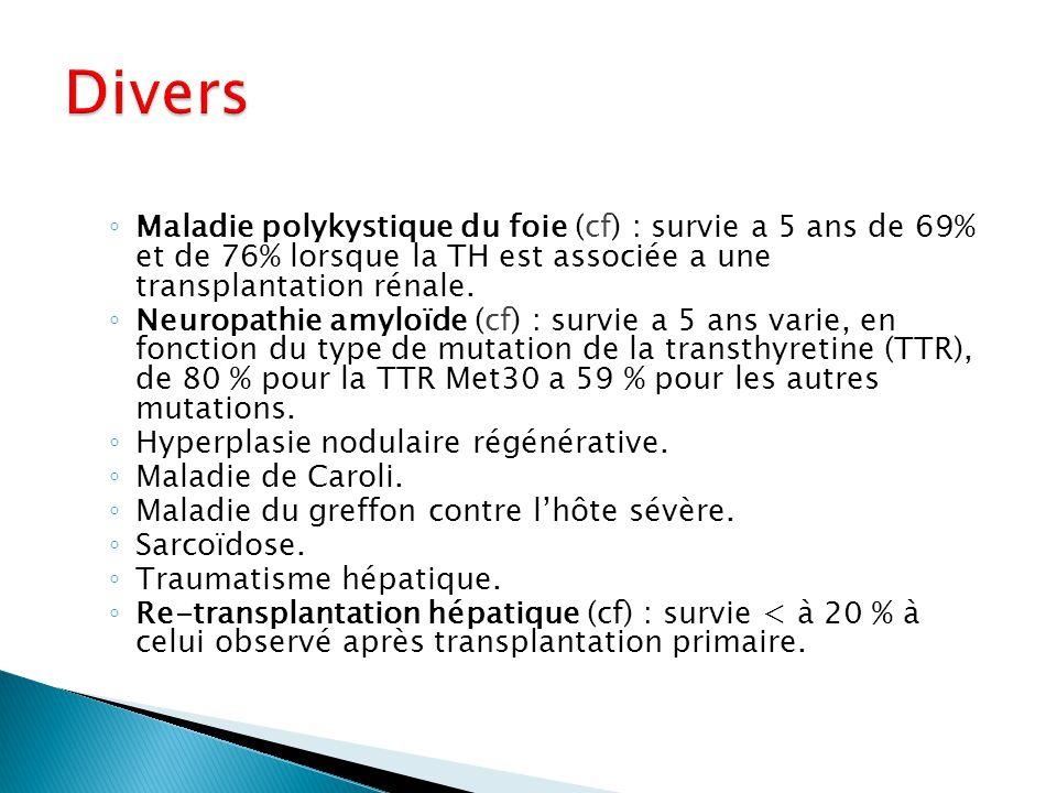 Divers Maladie polykystique du foie (cf) : survie a 5 ans de 69% et de 76% lorsque la TH est associée a une transplantation rénale.