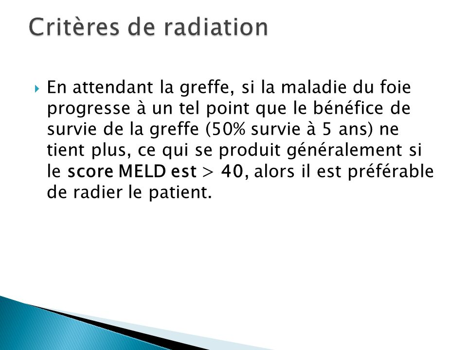 Critères de radiation