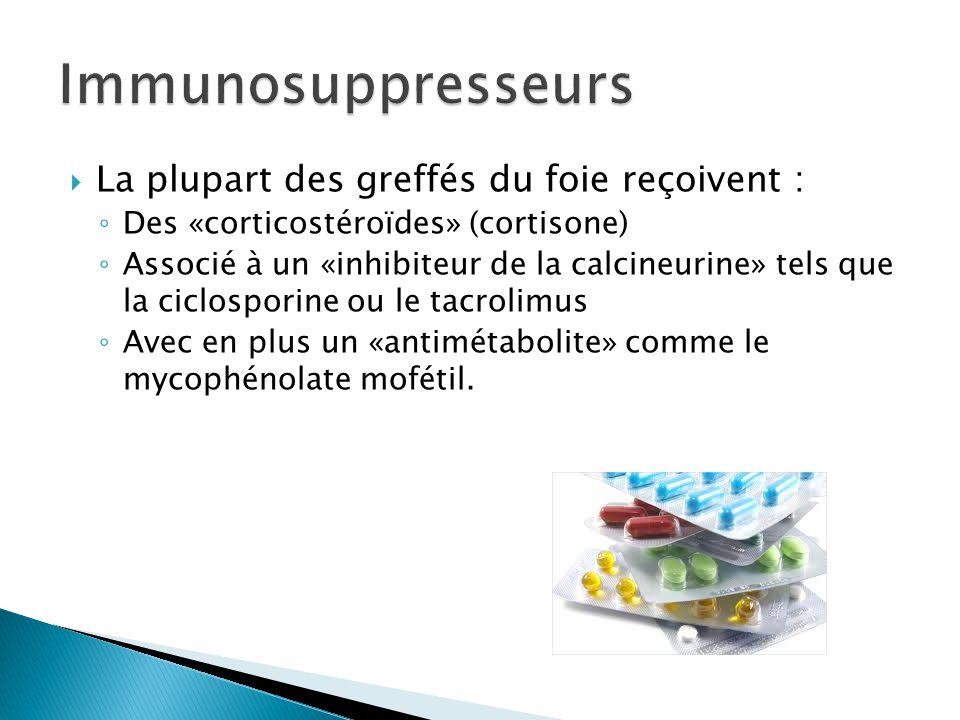 Immunosuppresseurs La plupart des greffés du foie reçoivent :