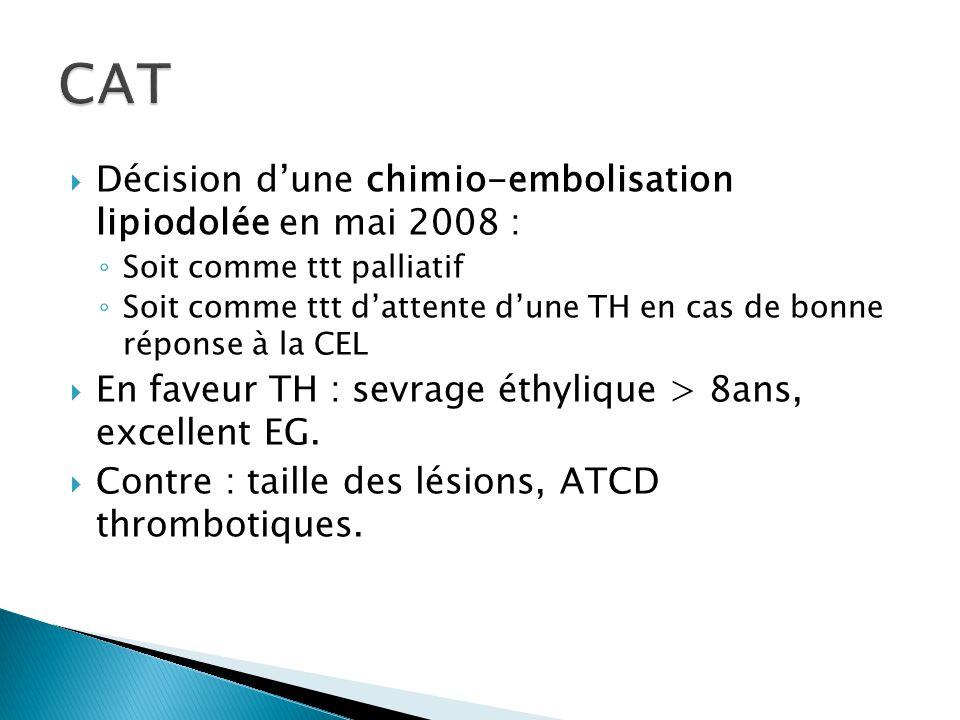 CAT Décision d'une chimio-embolisation lipiodolée en mai 2008 :