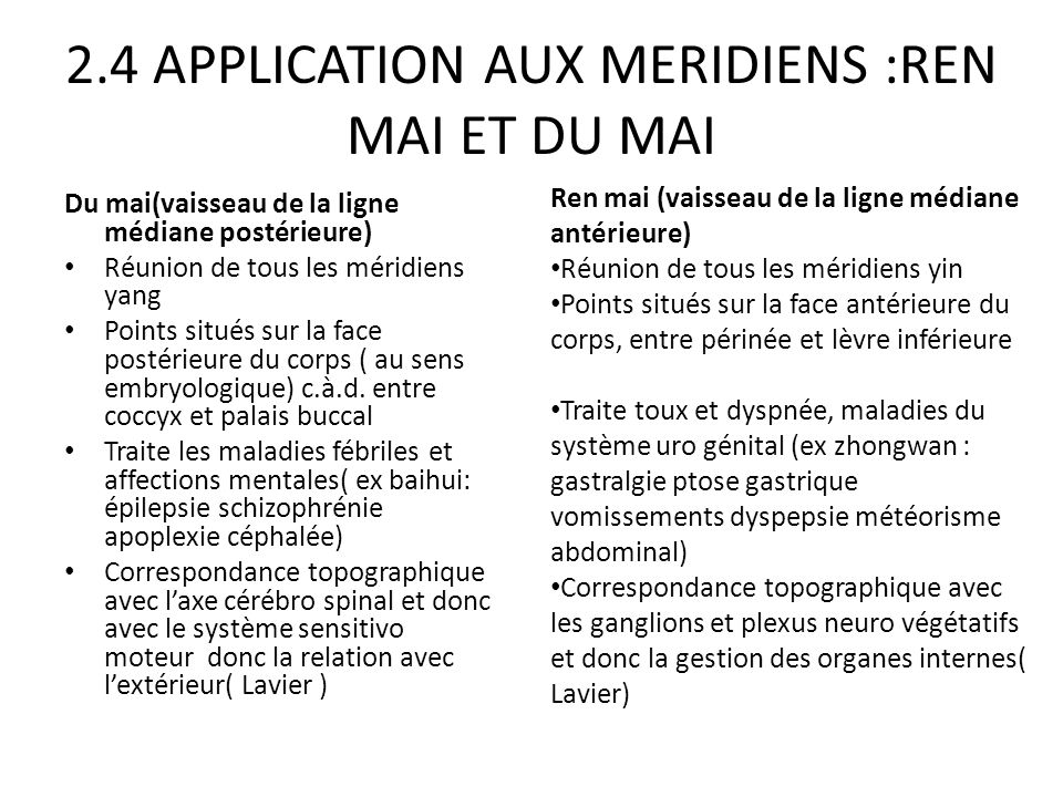 2.4 APPLICATION AUX MERIDIENS :REN MAI ET DU MAI