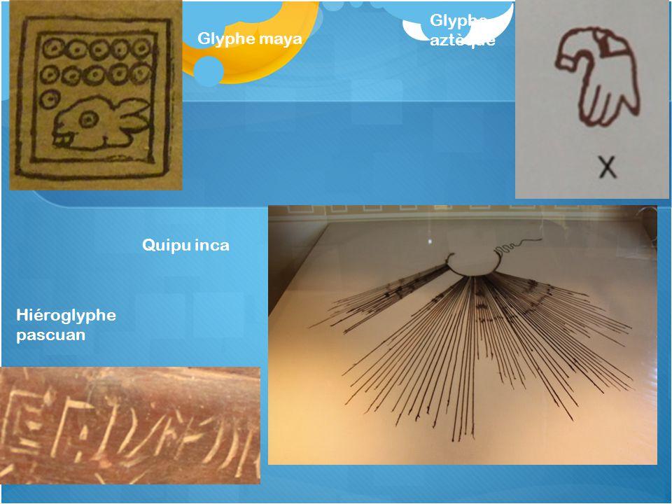 Glyphe aztèque Glyphe maya Quipu inca Hiéroglyphe pascuan