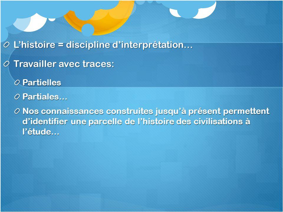 L'histoire = discipline d'interprétation… Travailler avec traces: