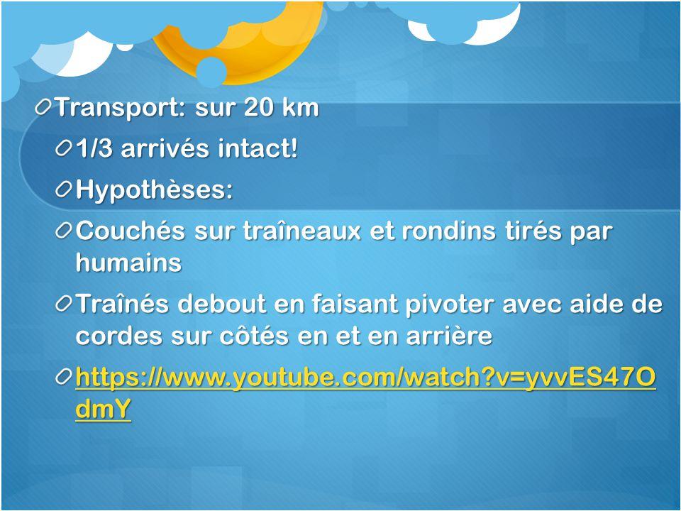 Transport: sur 20 km 1/3 arrivés intact! Hypothèses: Couchés sur traîneaux et rondins tirés par humains.